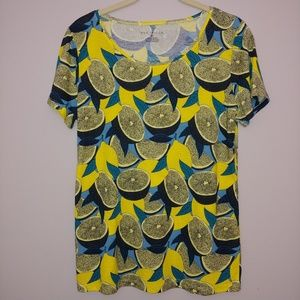 Ann Taylor Lemon Print Short-Sleeve T-Shirt